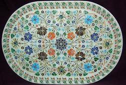 """9""""X12"""" Marble Serving Dish Plate Tray Marquetry Malachite In"""