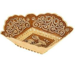 """6"""" Birch Bark Square Plate Serving Dish Bowl with Mushrooms"""