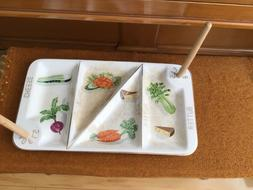 Bagel Serving Dish Plate with 4 Compartments and Four posts