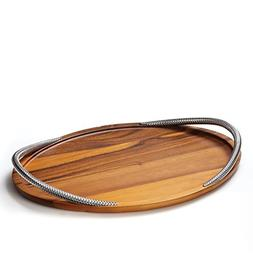 Nambe Braid Wood Serving Tray with Chrome Handles