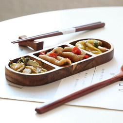 Divided Serving Tray Wooden Snacks Dish Tray For Kitchen Din