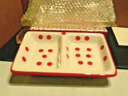 Double Tray Serving Dish Giftco 4 Legged Red and White Polka