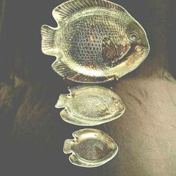 Glass Fish Serving Dishes 3 Sizes Large Medium Small