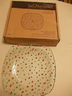 Pampered Chef Holiday Dots Square Bowl #3010