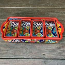 Mexican Talavera Serving Dish - Sectional Tray - Condiment o