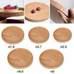 New Round Wooden Plate Serving Tray Natural Wood Tea Food Se
