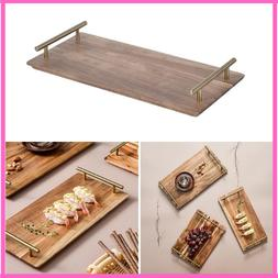 Serving Trays Hot Wooden With Handle Dinner Plates Setting S