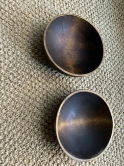 Wooden Snack Bowls Set of 2 Small Square Teak Wood Entertain
