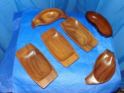 WOODEN SERVING DISHES SET OF 6